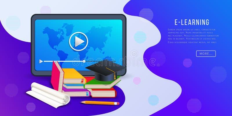 Онлайн курсы, знамя платформы обучения по Интернету с планшетом, видеоплеер, книги, карандаш и крышка градации бесплатная иллюстрация