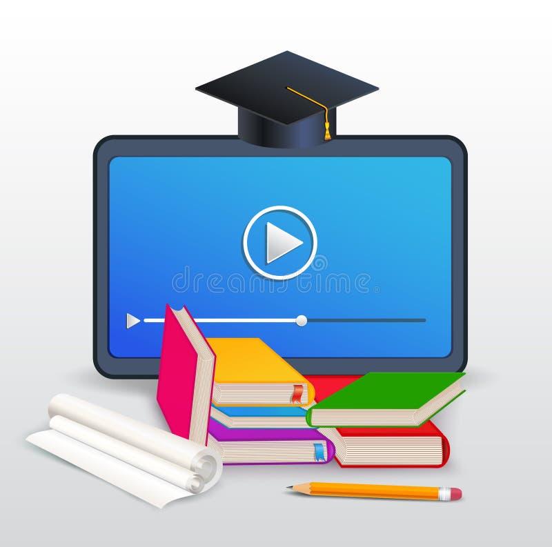 Онлайн курсы, обучение по Интернету, образование, тренировка расстояния с планшетом, книги, учебники, карандаш и крышка градации иллюстрация штока