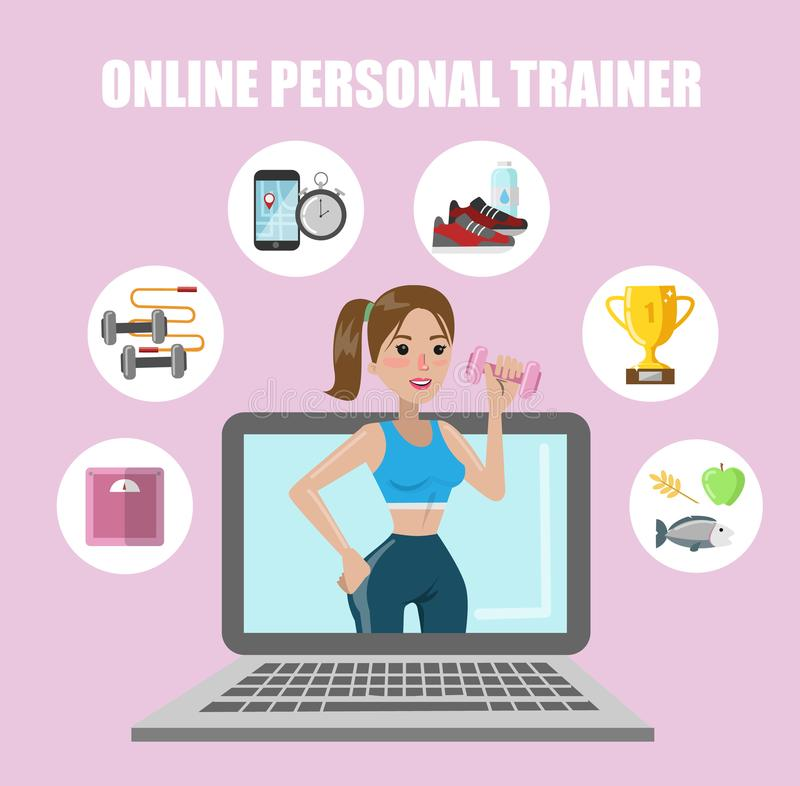 Онлайн личный тренер бесплатная иллюстрация