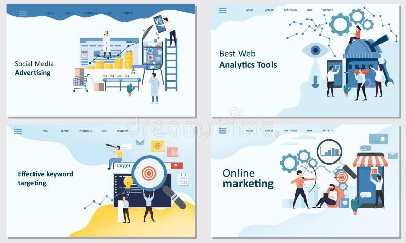 Онлайн маркетинг, самые лучшие инструменты аналитика сети, эффективное ключевое слово целясь инструменты, социальная реклама сред иллюстрация вектора