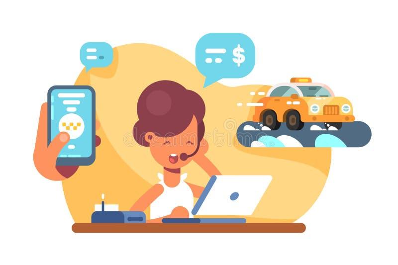 Онлайн мобильный транспорт такси города иллюстрация штока