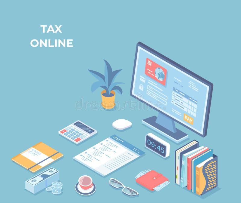 Онлайн налог, счеты, фактуры оплачивая, бухгалтерия Интерфейс на экране монитора, кредитная карточка применения оплаты, документы иллюстрация вектора