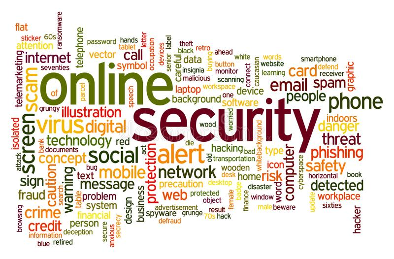 Онлайн облако слова безопасностью иллюстрация штока