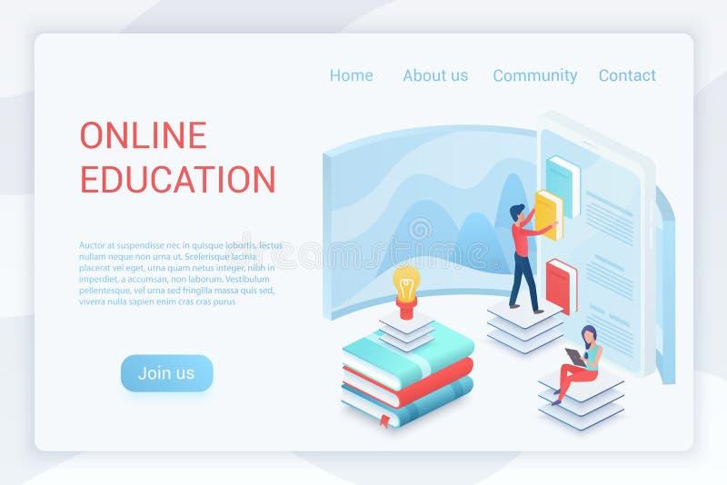 Онлайн образование, шаблон вектора страницы elearning равновеликий приземляясь иллюстрация вектора
