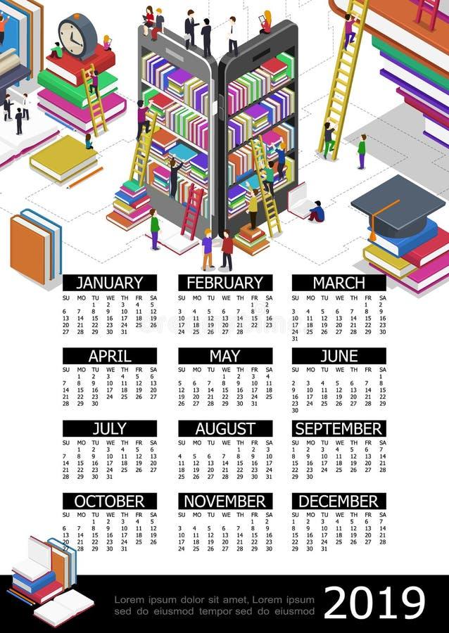 Онлайн образование шаблон календаря 2019 год бесплатная иллюстрация