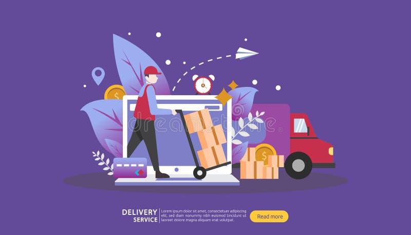 Онлайн обслуживание доставки концепция заказа срочная отслеживая с крошечной тележкой коробки характера и груза шаблон для страни бесплатная иллюстрация