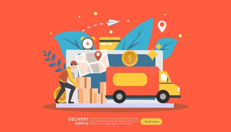 Онлайн обслуживание доставки концепция заказа срочная отслеживая с крошечной тележкой коробки характера и груза шаблон для страни иллюстрация штока