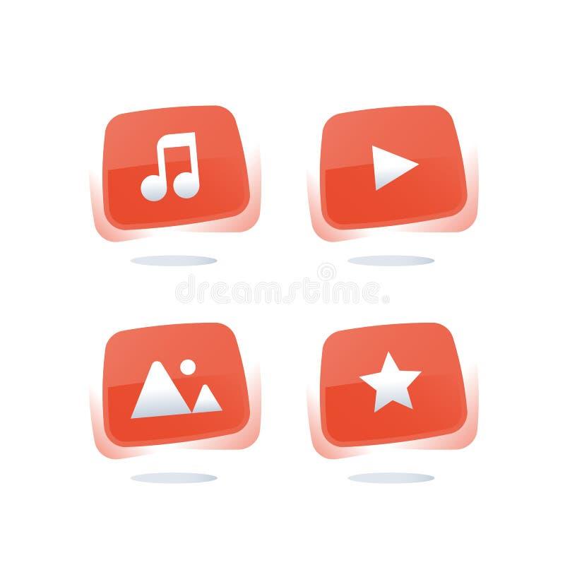Онлайн обслуживание музыки, вахта течь видео, кнопки сети средств массовой информации красные, загружает тональнозвуковой файл, р иллюстрация вектора
