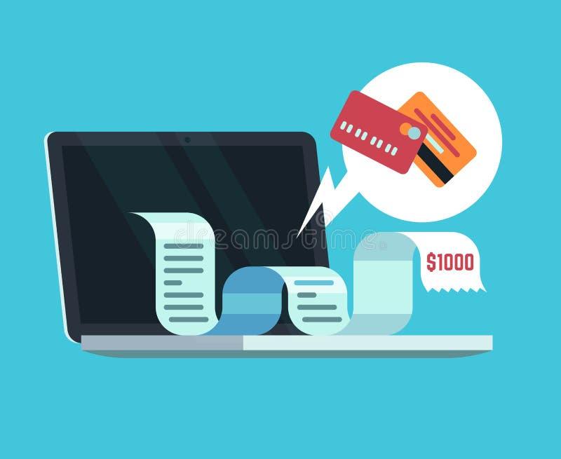 Онлайн оплата и цифровая концепция фактуры Оплачивать получение на экране компьютера E-документы и вектор бумаг налога иллюстрация штока