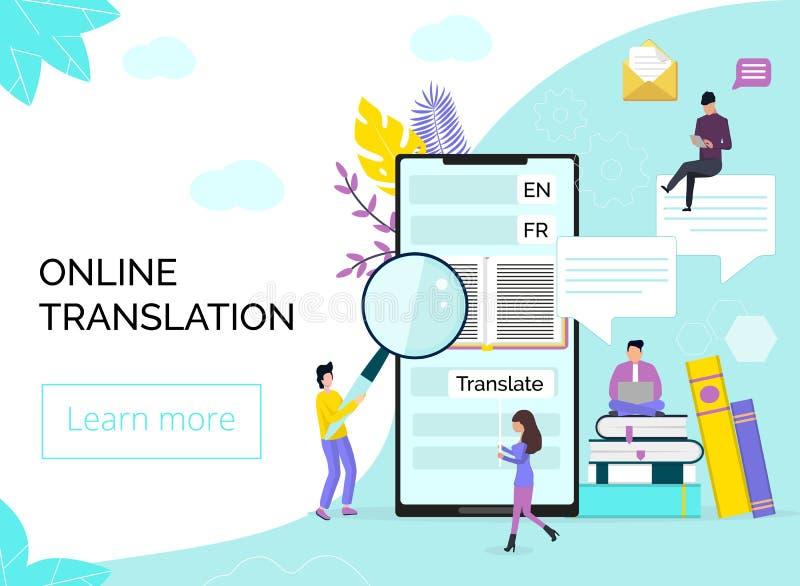 Онлайн переводчик в мобильном телефоне или планшете иллюстрация штока