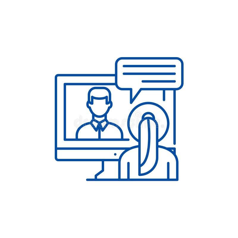 Онлайн переговоры выравнивают концепцию значка Символ вектора онлайн переговоров плоский, знак, иллюстрация плана бесплатная иллюстрация