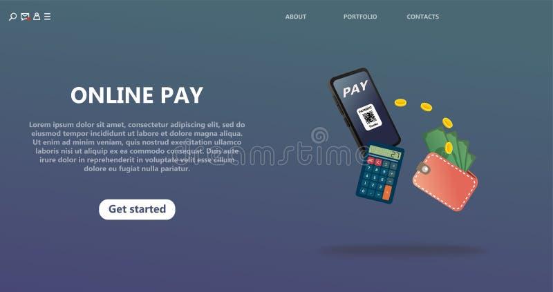 Онлайн-платеж, безопасный безопасный денежный перевод иллюстрация вектора