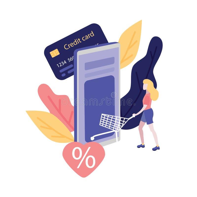 Онлайн покупки и оплата с концепцией кредитной карточки иллюстрация штока