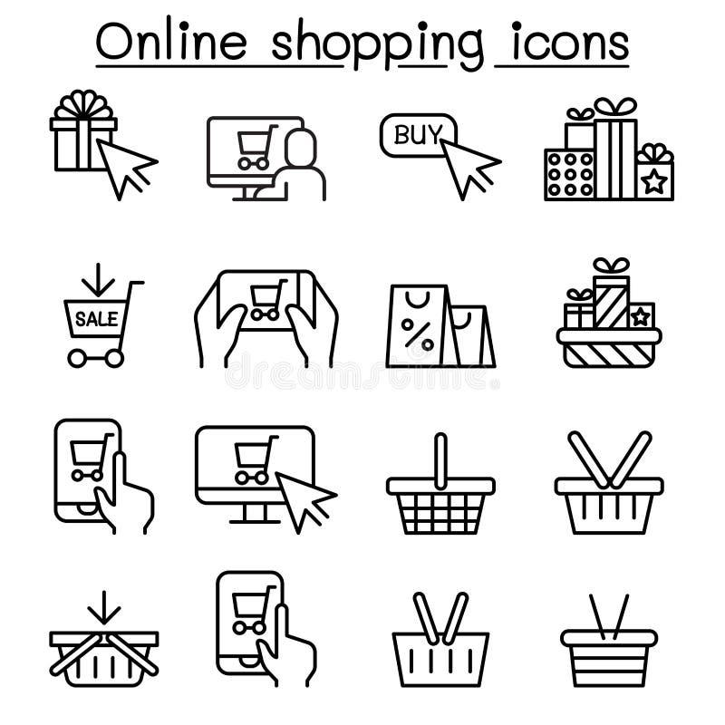 Онлайн покупки, набор значка понедельника кибер в тонкой линии стиле иллюстрация вектора