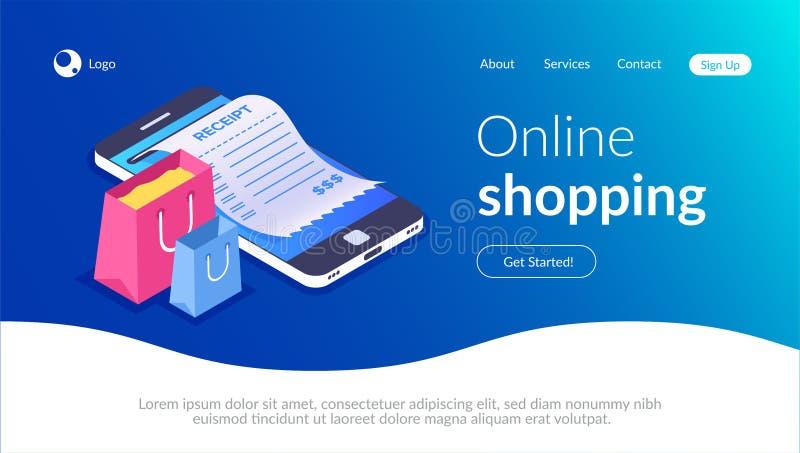 Онлайн покупки со смартфоном Покупки электронной коммерции Хозяйственная сумка и получение на предпосылке мобильного телефона иллюстрация вектора