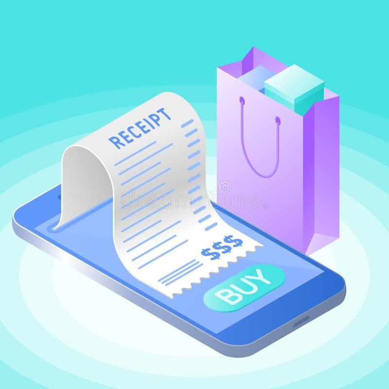 Онлайн приобретение счета с smartphone Плоский вектор равновеликий иллюстрация штока