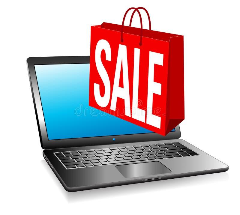 Онлайн продажа вебсайта, хозяйственная сумка знамени ПРОДАЖИ сети иллюстрация вектора