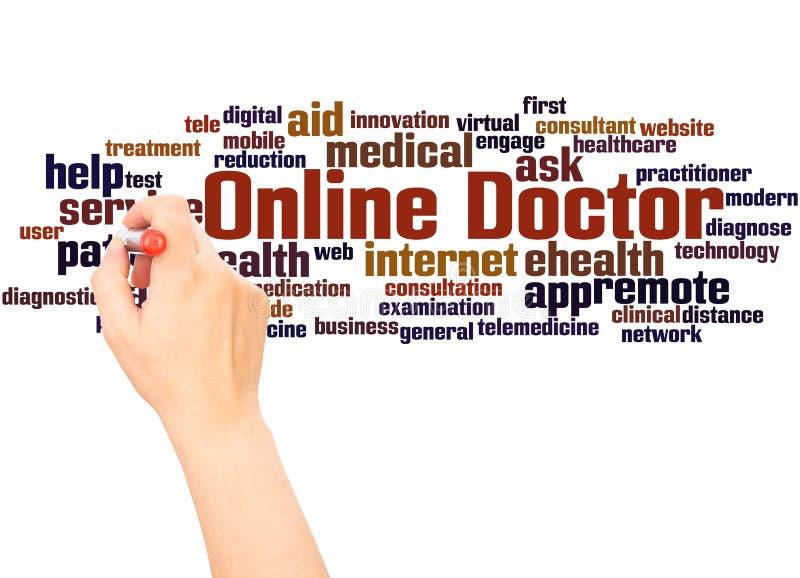 Онлайн рука облака слова доктора писать концепцию стоковая фотография rf