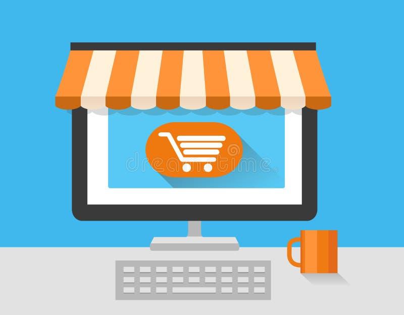 Онлайн рынок магазина с компьтер-книжкой На линии магазине Продажа, компьтер-книжка и умный телефон с тентом иллюстрация вектора