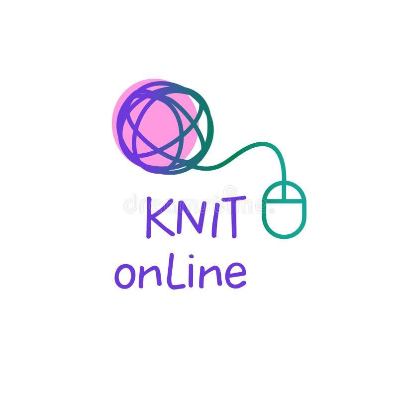 Онлайн свяжите мастерскую, творческий курс, мастерский логотип шаблона вектора класса, значок, знак, ярлык Все для вязать иллюстрация вектора