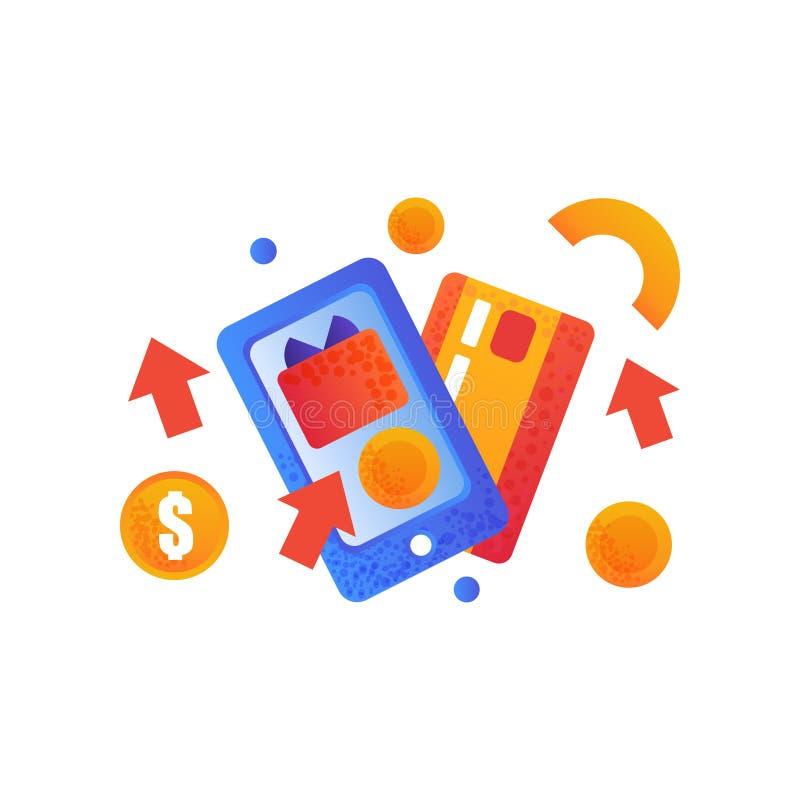 Онлайн символы покупок, кредитная карточка и smartphone, иллюстрация вектора концепции электронной коммерции на белой предпосылке бесплатная иллюстрация
