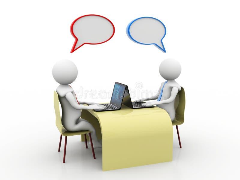 Онлайн сообщение Беседующ, концепция делового сообщества перевод 3d иллюстрация вектора