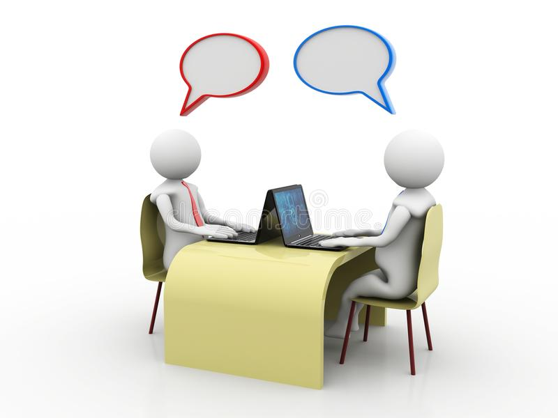 Онлайн сообщение Беседующ, концепция делового сообщества перевод 3d иллюстрация штока