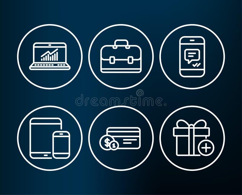 Онлайн статистик, метод оплаты и значки портфолио Мобильные устройства, сообщение и добавляют знаки подарка иллюстрация вектора