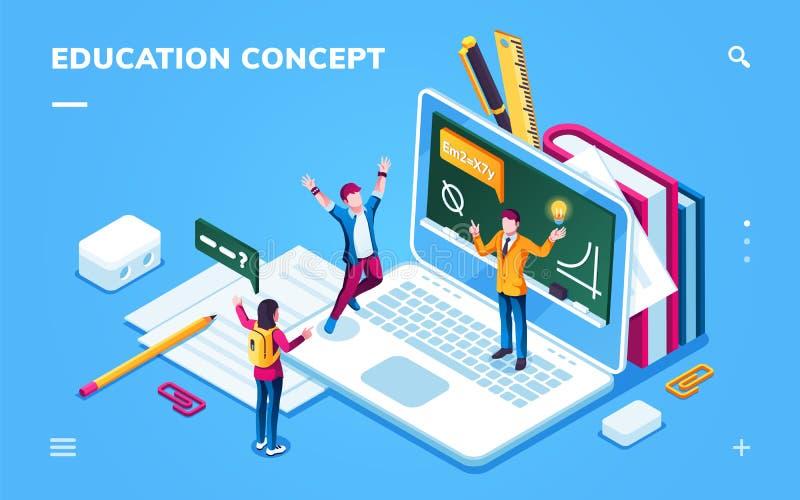 Онлайн страница образования для применения смартфона иллюстрация штока