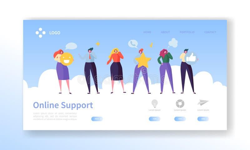 Онлайн страница посадки службы технической поддержки обслуживания клиента Болтовня характера оператора для того чтобы помочь реше бесплатная иллюстрация