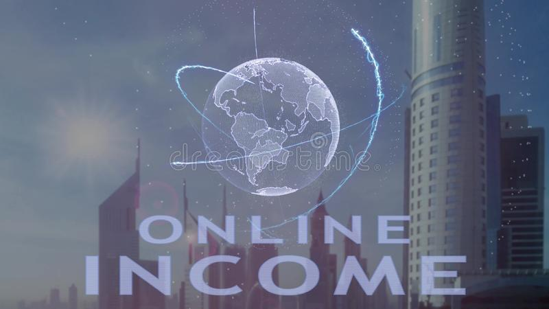 Онлайн текст дохода с hologram 3d земли планеты против фона современной метрополии иллюстрация штока