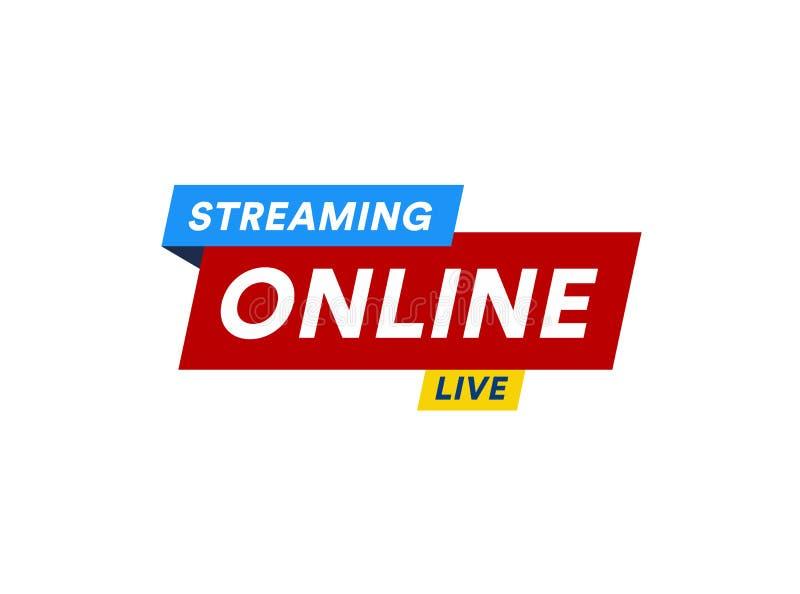 Онлайн течь логотип, значок потока видео в реальном времени, цифровой онлайн дизайн знамени ТВ интернета, кнопка передачи, средст иллюстрация вектора