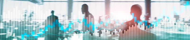 Онлайн торговая операция, ВАЛЮТА, концепция вклада на запачканной предпосылке делового центра Знамя заголовка вебсайта бесплатная иллюстрация