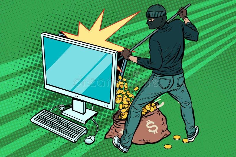 Онлайн хакер крадет деньги доллара от компьютера иллюстрация вектора