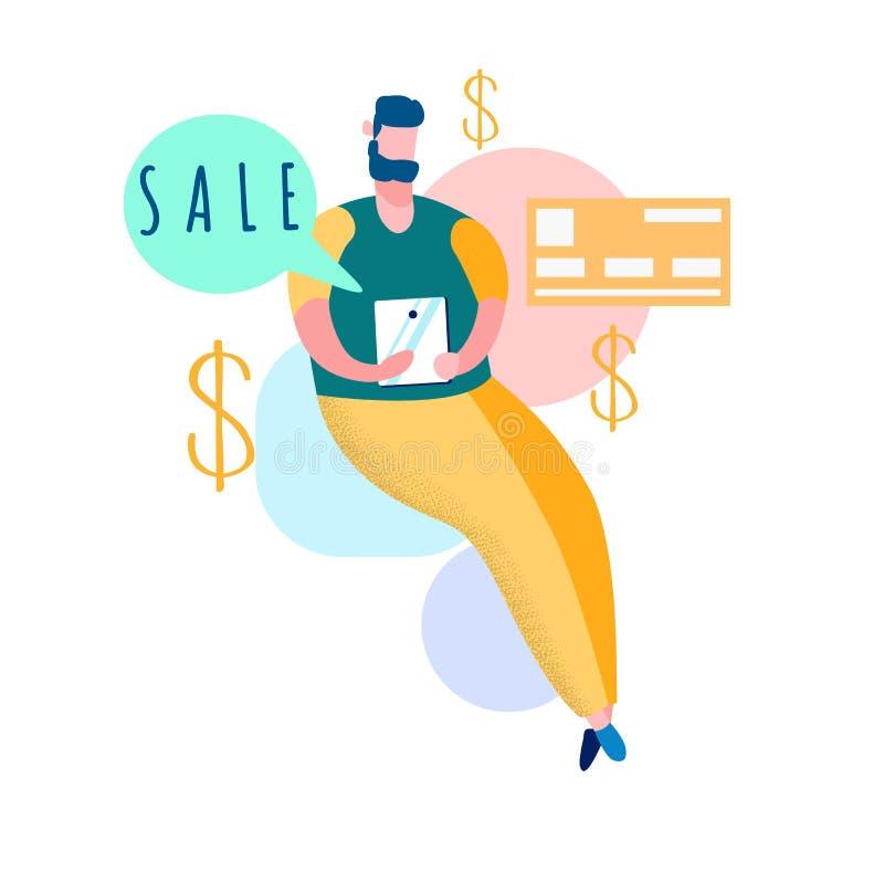 Онлайн ходя по магазинам иллюстрация вектора продаж плоская иллюстрация штока