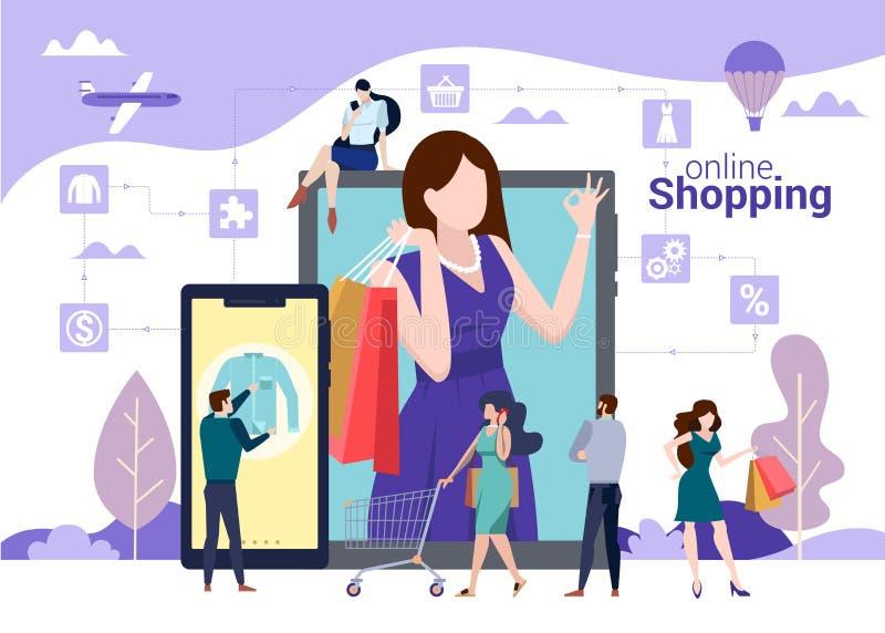 Онлайн ходя по магазинам концепция вектора с людьми сумки выбирая, пок иллюстрация штока