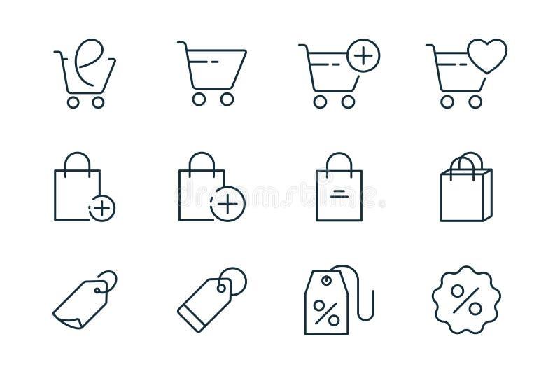 Онлайн ходя по магазинам линия значки установила на белую предпосылку стоковые изображения