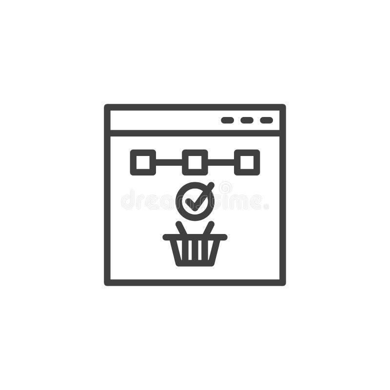 Онлайн ходя по магазинам линия значок иллюстрация вектора