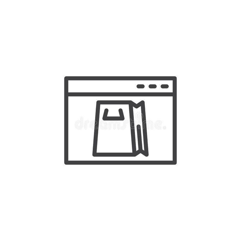 Онлайн ходя по магазинам линия значок бесплатная иллюстрация