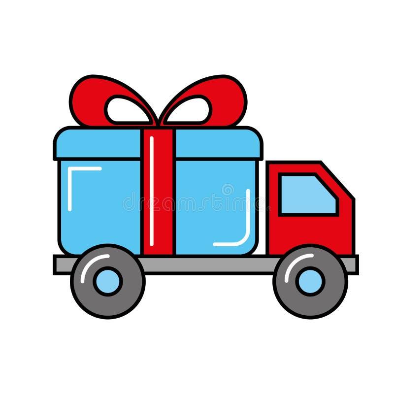 Онлайн ходя по магазинам логистический подарок доставки тележки иллюстрация вектора