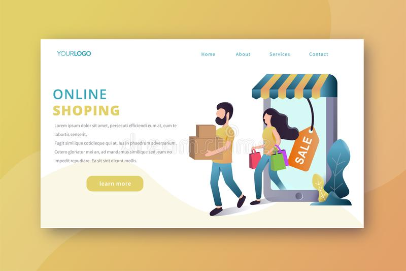Онлайн ходя по магазинам приземляясь страница иллюстрация вектора