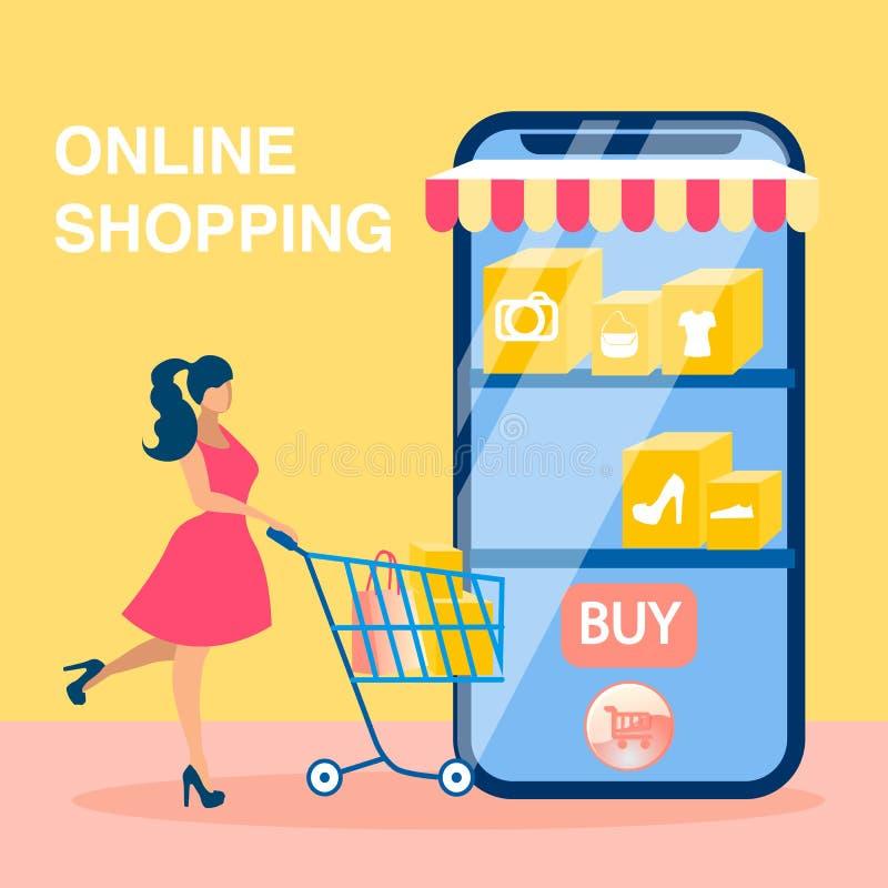Онлайн ходя по магазинам социальная концепция вектора знамени средств массовой информации бесплатная иллюстрация