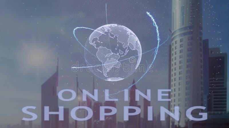 Онлайн ходя по магазинам текст с hologram 3d земли планеты против фона современной метрополии иллюстрация вектора