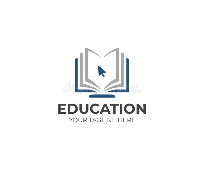 Онлайн шаблон логотипа образования Дизайн вектора дистанционого обучения стоковое изображение rf
