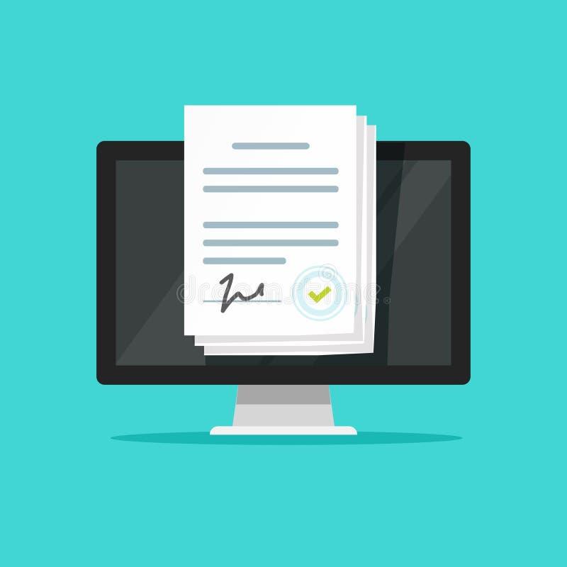 Онлайн электронные документы на компьтер-книжке vector иллюстрация, плоский печатный документ шаржа с подписью на экране компьюте иллюстрация вектора