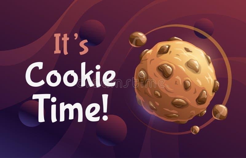 Оно время печенья s Плакат конспекта вектора с планетой печенья сладкого шоколада мультфильма иллюстрация штока