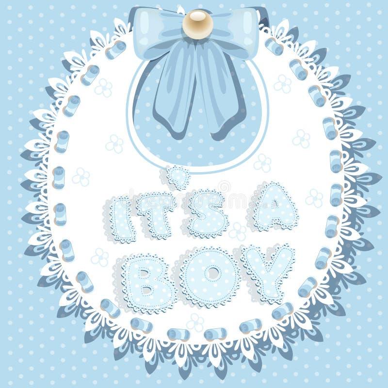 Оно ` s ливень младенца мальчика на bib иллюстрация штока