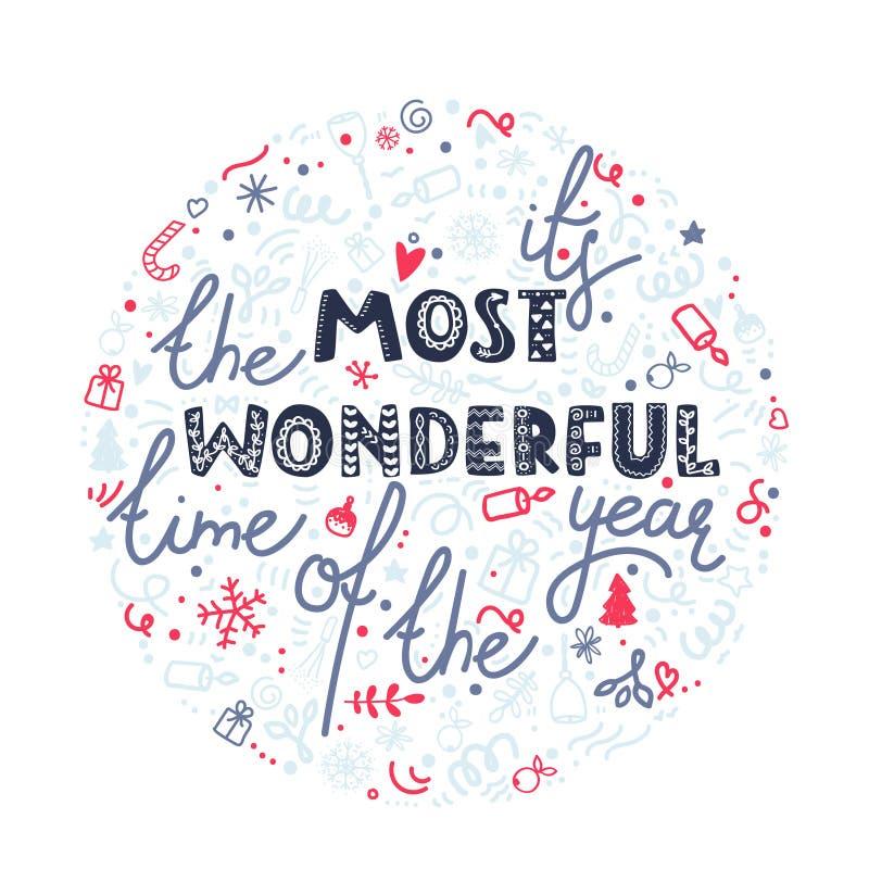 Оно ` s самое чудесное время года Плакат торжества рождества, поздравительная открытка Нарисованная рукой иллюстрация doodle иллюстрация штока