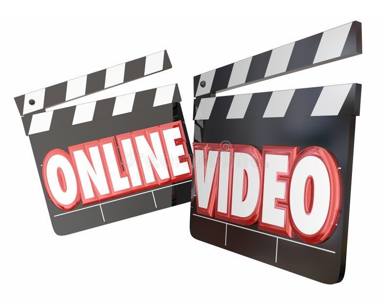 Онлайн видео- взгляд вахты течь вебсайт интернета кино содержимый иллюстрация вектора