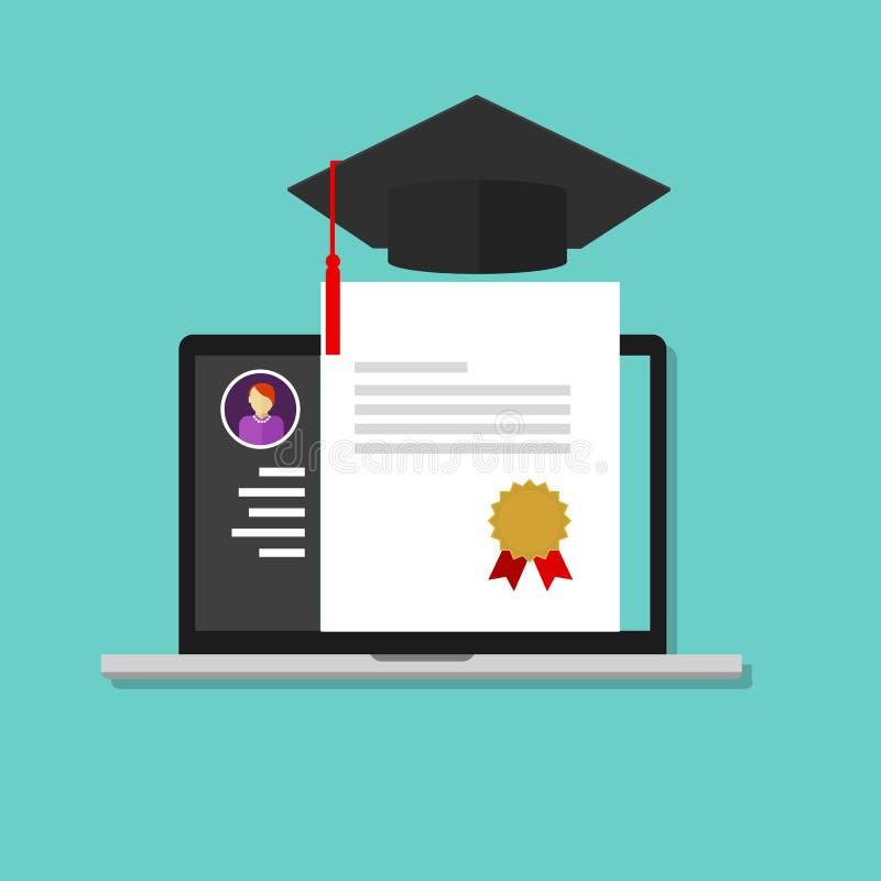 Онлайн выпускник колледжа образования степени иллюстрация вектора